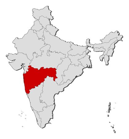 Political map of India with the several states where Maharashtra is highlighted. Vector