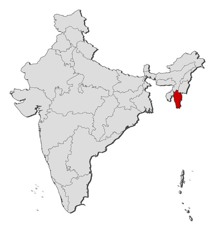 Political map of India with the several states where Mizoram is highlighted. Vector