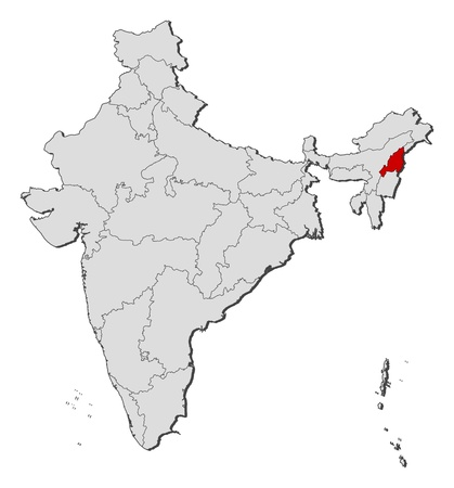 Political map of India with the several states where Nagaland is highlighted. Vector