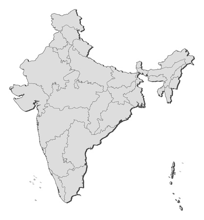 Political map of India with the several states.