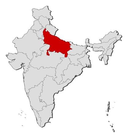 highlighted: Mappa politica dell'India con gli stati diversi casi in cui � evidenziato Uttar Pradesh. Vettoriali