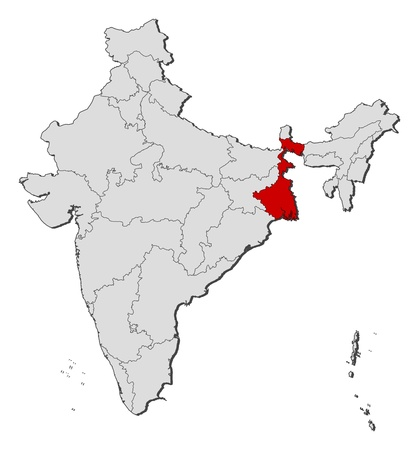 Political map of India with the several states where West Bengal is highlighted. Vector