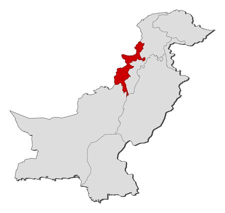 administered: Political map of Pakistan with the several provinces where Federally Administered Tribal Areas is highlighted. Illustration