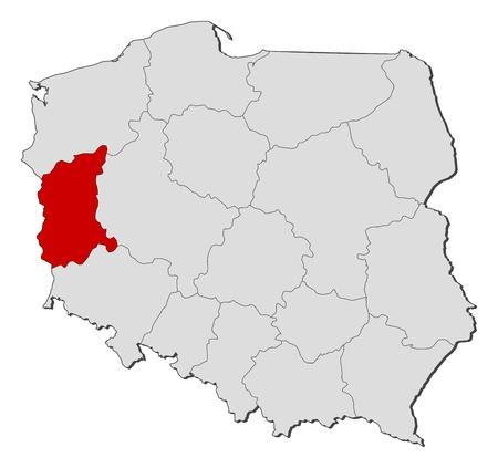 highlighted: Mappa politica della Polonia con le diverse province (voivodati), dove viene evidenziata Lubusz. Vettoriali