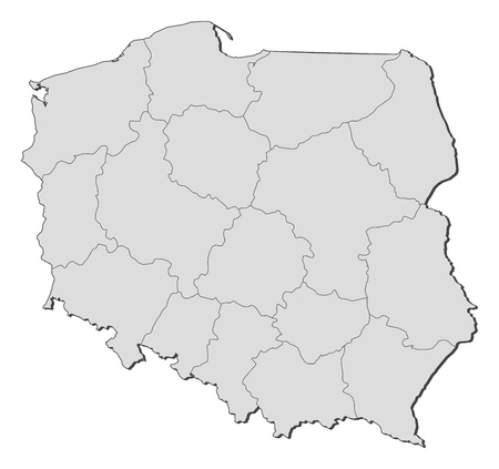 Political map of Poland with the several provinces (voivodschips). Illustration
