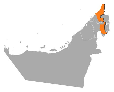southwestern asia: Political map of the United Arab Emirates with the several emirates where Ras al-Khaimah is highlighted. Illustration