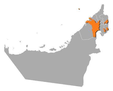 western asia: Political map of the United Arab Emirates with the several emirates where Sharjah is highlighted.