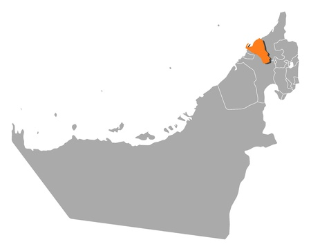 southwestern asia: Political map of the United Arab Emirates with the several emirates where Umm al-Quwain is highlighted.