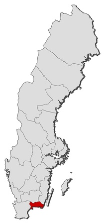 sverige: Political map of Sweden with the several provinces where Blekinge County is highlighted.