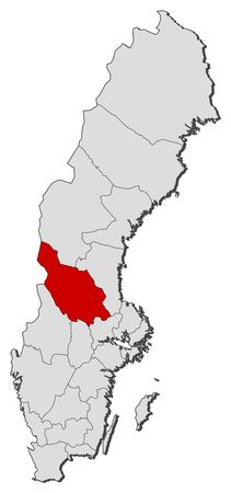 Political map of Sweden with the several provinces where Dalarna County is highlighted. Illustration