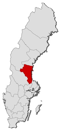 Political map of Sweden with the several provinces where Gävleborg County is highlighted.