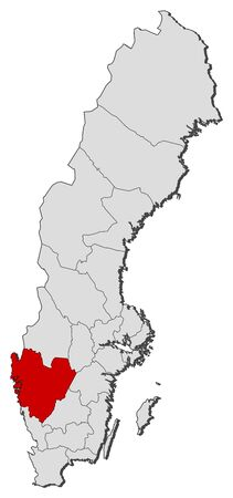 laen: Political map of Sweden with the several provinces where V�stra G�taland County is highlighted.
