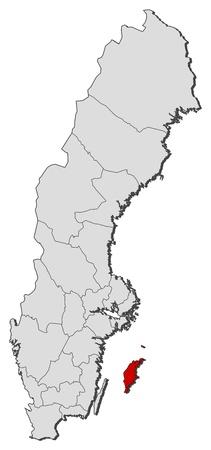 Mapa Politico De Suecia.Mapa Politico De Suecia Con Las Distintas Provincias Donde Se Destaca Condado De Gotland