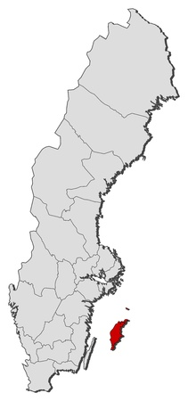 Political map of Sweden with the several provinces where Gotland County is highlighted. Illustration