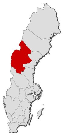 laen: Political map of Sweden with the several provinces where J�mtland County is highlighted. Illustration