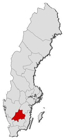 condado: Political map of Sweden with the several provinces where J�nk�ping County is highlighted. Ilustra��o