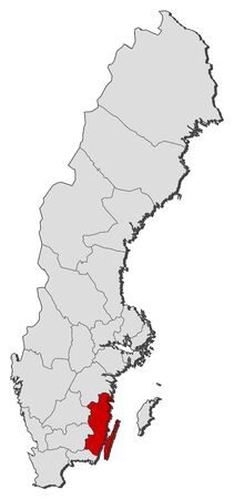 laen: Political map of Sweden with the several provinces where Kalmar County is highlighted.