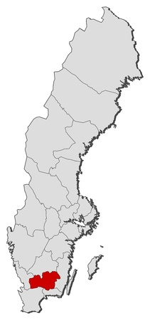 Political map of Sweden with the several provinces where Kronoberg County is highlighted. Illustration