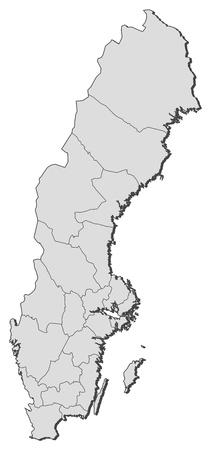 Politieke kaart van Zweden met de diverse provincies.