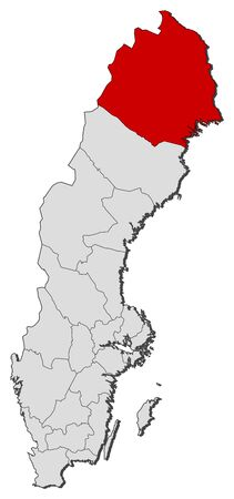 Political map of Sweden with the several provinces where Norrbotten County is highlighted.