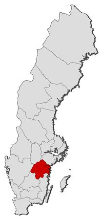 sverige: Political map of Sweden with the several provinces where Östergötland County is highlighted.
