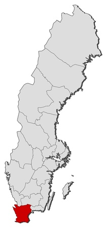 sverige: Political map of Sweden with the several provinces where Skane County is highlighted.