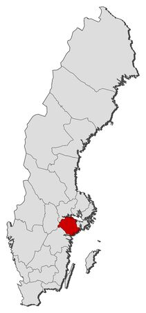 Political map of Sweden with the several provinces where Södermanland County is highlighted. Illustration