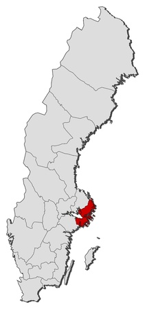 Political map of Sweden with the several provinces where Stockholm County is highlighted. Illustration
