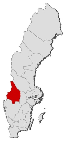 condado: Political map of Sweden with the several provinces where V�rmland County is highlighted.