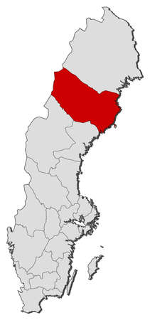 laen: Political map of Sweden with the several provinces where V�sterbotten County is highlighted. Illustration