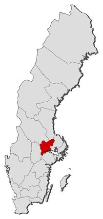 sverige: Political map of Sweden with the several provinces where Värmland County is highlighted. Illustration