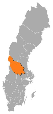 condado: Political map of Sweden with the several provinces where Dalarna County is highlighted. Ilustra��o