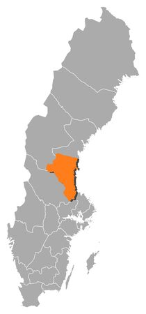 laen: Political map of Sweden with the several provinces where G�vleborg County is highlighted. Illustration