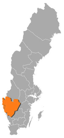 Political map of Sweden with the several provinces where Västra Götaland County is highlighted.