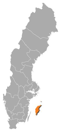 orange county: Political map of Sweden with the several provinces where Gotland County is highlighted. Illustration