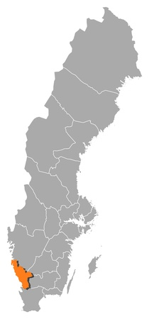Political map of Sweden with the several provinces where Halland County is highlighted.