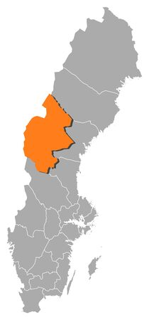 Political map of Sweden with the several provinces where Jämtland County is highlighted. Illustration