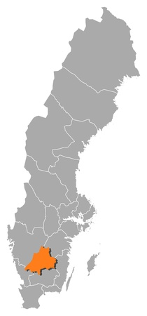 laen: Political map of Sweden with the several provinces where J�nk�ping County is highlighted. Illustration