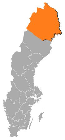 laen: Political map of Sweden with the several provinces where Norrbotten County is highlighted.