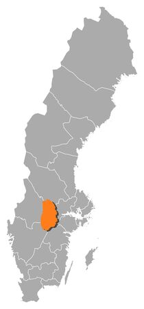 Political map of Sweden with the several provinces where Örebro County is highlighted.