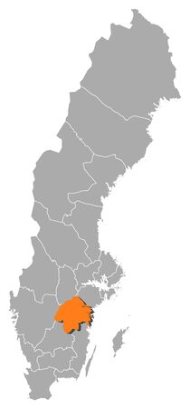 Political map of Sweden with the several provinces where Östergötland County is highlighted.