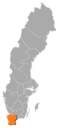 laen: Political map of Sweden with the several provinces where Skane County is highlighted.