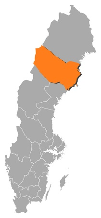 Political map of Sweden with the several provinces where Västerbotten County is highlighted.
