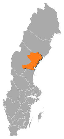 sverige: Political map of Sweden with the several provinces where Västernorrland County is highlighted.