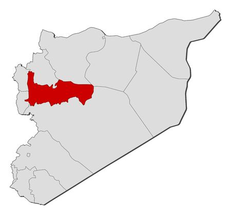 western asia: Political map of Syria with the several governorates where Hama is highlighted. Illustration