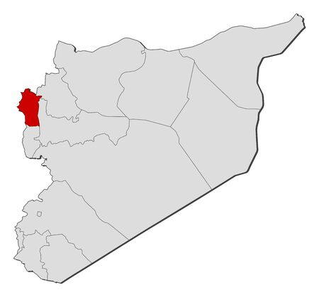 western asia: Political map of Syria with the several governorates where Latakia is highlighted.