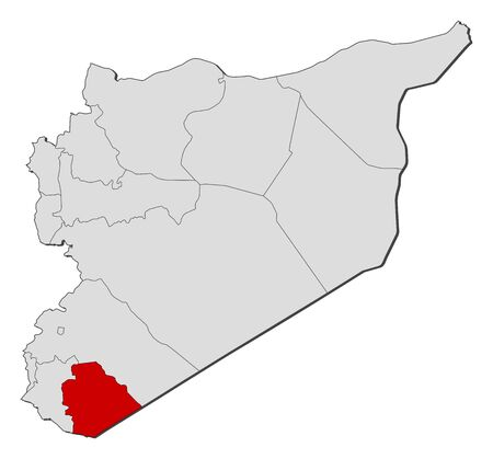 western asia: Political map of Syria with the several governorates where As-Suwayda is highlighted. Illustration