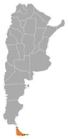 del: Political map of Argentina with the several provinces where Tierra del Fuego is highlighted. Illustration