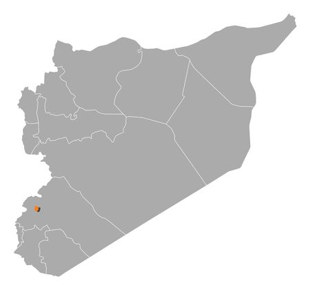 western asia: Political map of Syria with the several governorates where Damascus is highlighted. Illustration