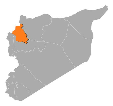 southwestern asia: Political map of Syria with the several governorates where Idlib is highlighted. Illustration